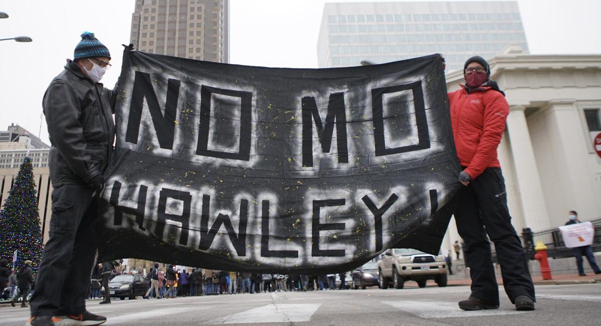 No Mo Hawley protest sign