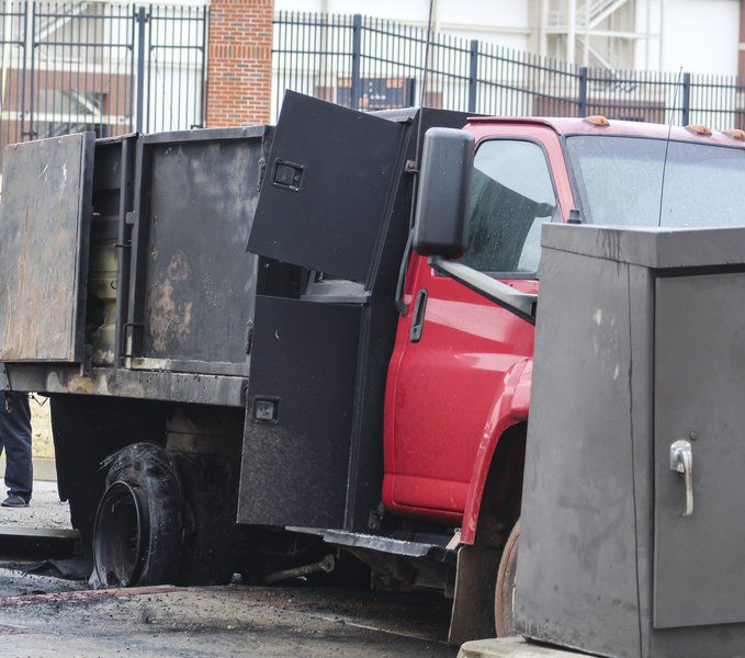 Dumptruck collision starts electrical fire