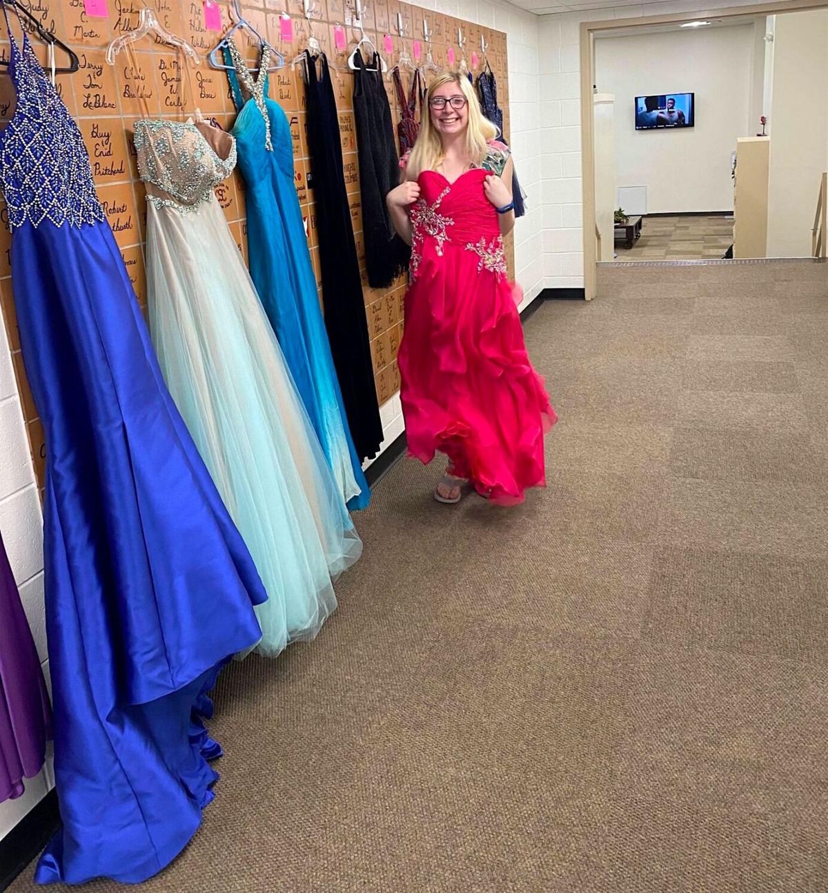 Prom dress try-on