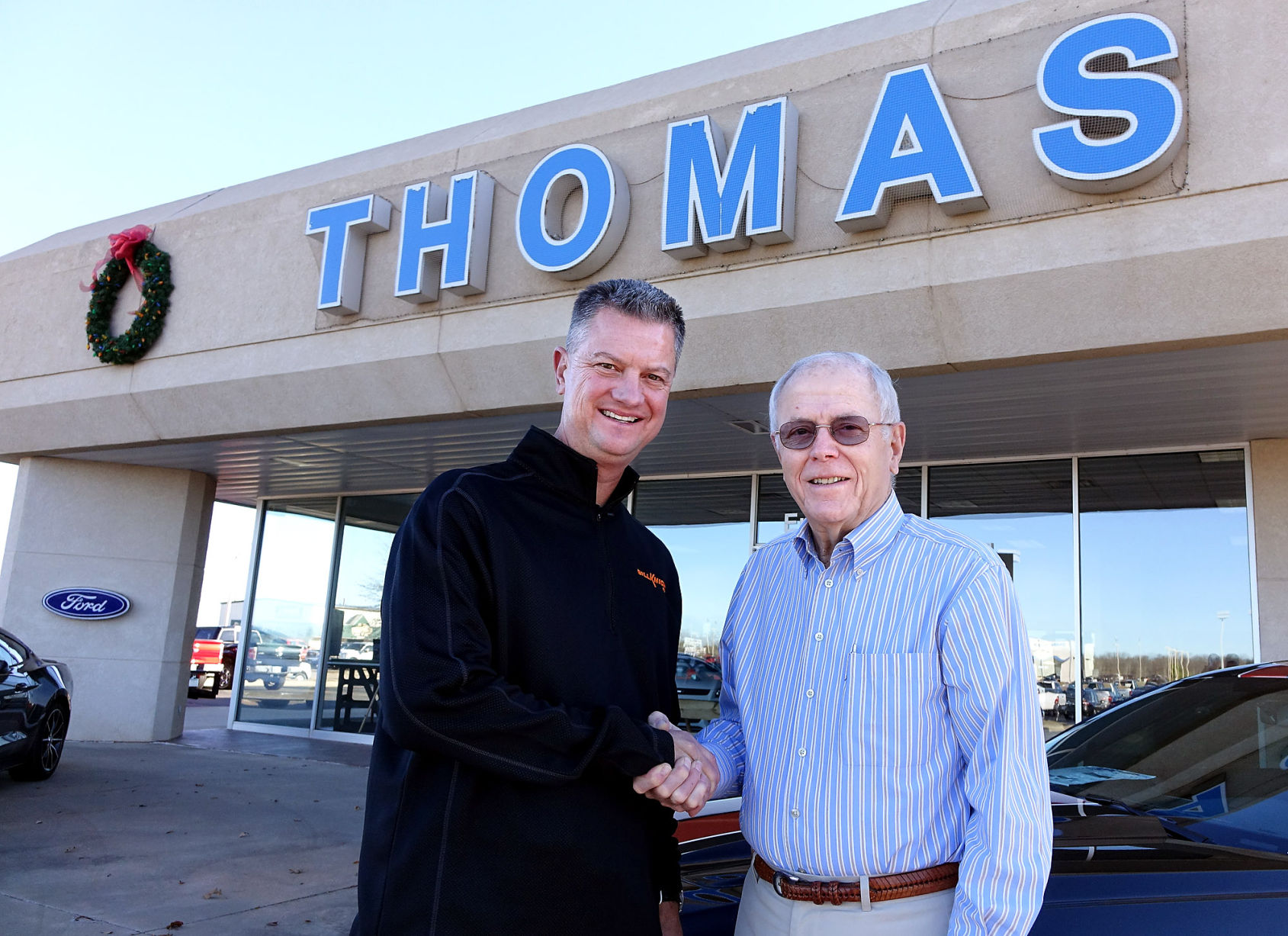 Bill Knight left 53 of Tulsa is buying Thomas Ford from Owen Thomas right 85 of Stillwater effective Dec. 16 2015. The Ford dealership which has ...  sc 1 st  Stillwater News Press & Ford dealership changing hands after 96 years in the Thomas family ... markmcfarlin.com