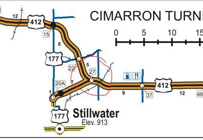 Cimarron Turnpike semi rollover location