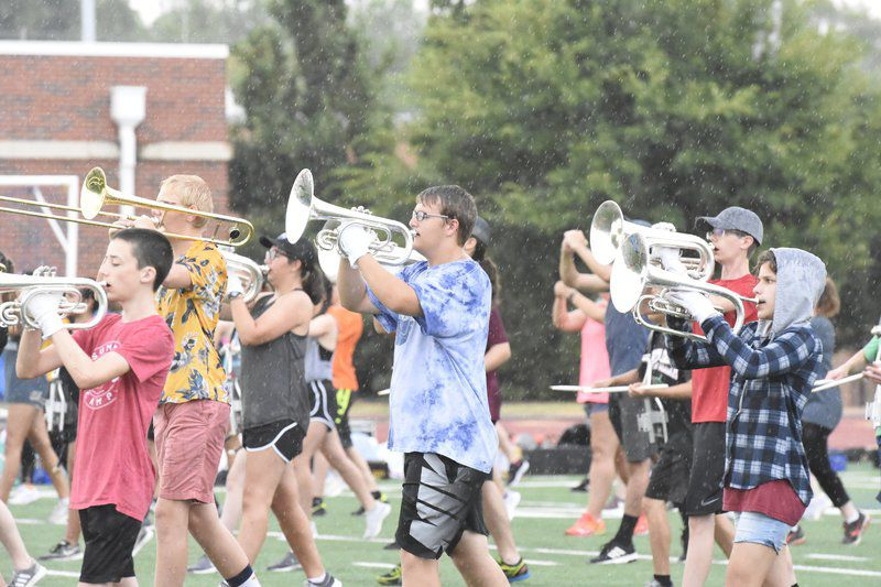 Stillwater High marching band practicing for fall season