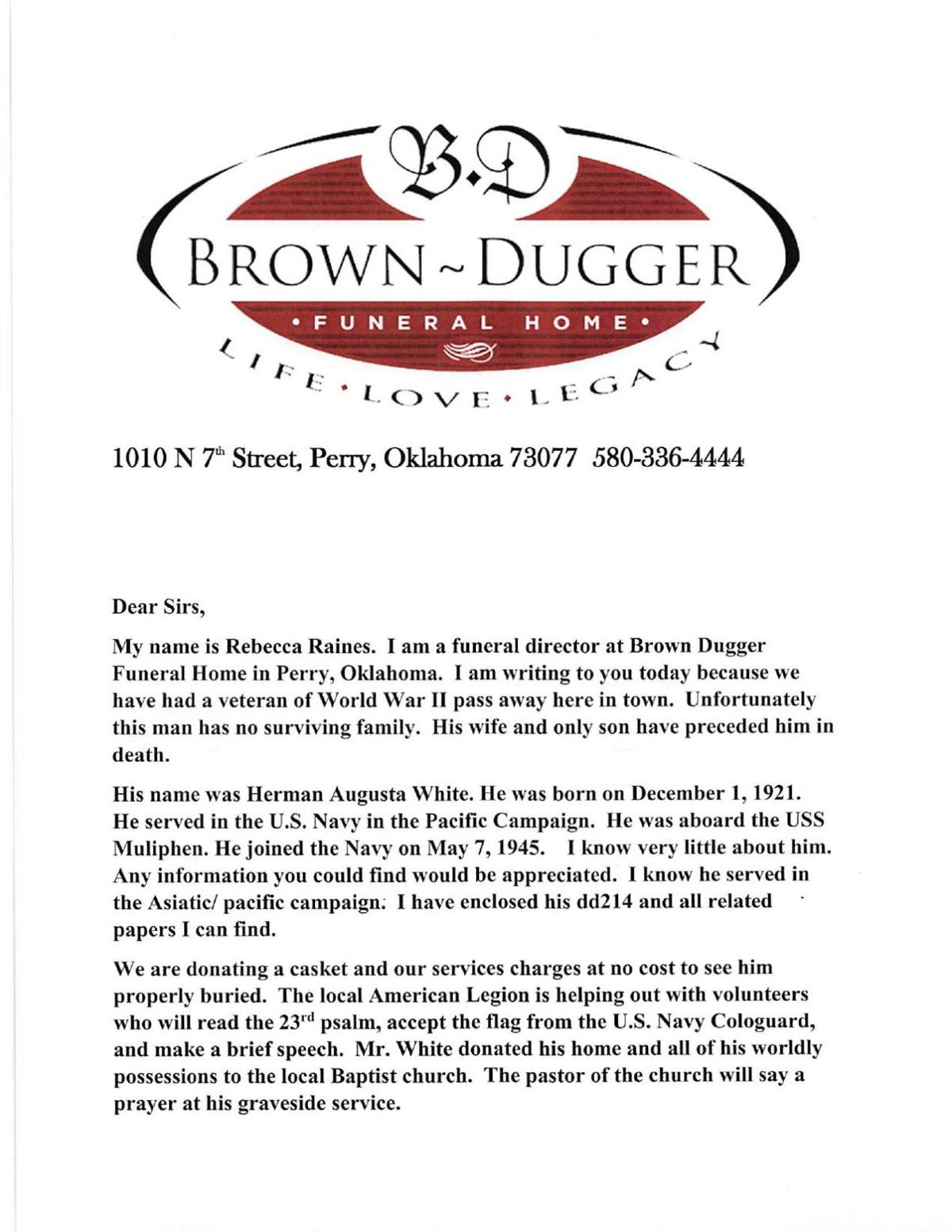 Letter from Brown-Dugger Funeral Home