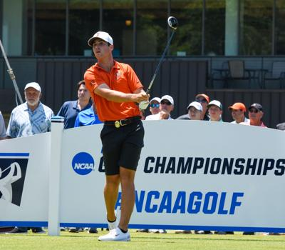 5128cce0e01 Oklahoma State sophomore Matthew Wolff tees off No. 1 tee box at the start  of Monday's final round of stroke play at the NCAA Division I Golf  Championships ...