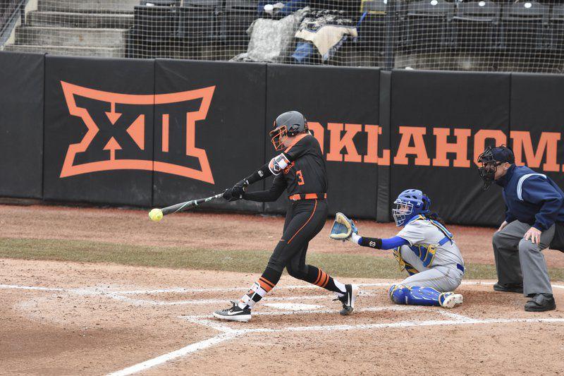 6fd62d4e2 Jordan Bishop/Stillwater News Press Oklahoma State senior pitcher Samantha  Show connects on a ball against McNeese State earlier this season. Show bat  ...