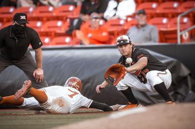 Oklahoma State Cowboys vs Texas Longhorns Baseball Game, Saturday, April 24, 2021, O'Brate Stadium, Stillwater, OK. Bruce Waterfield/OSU Athletics