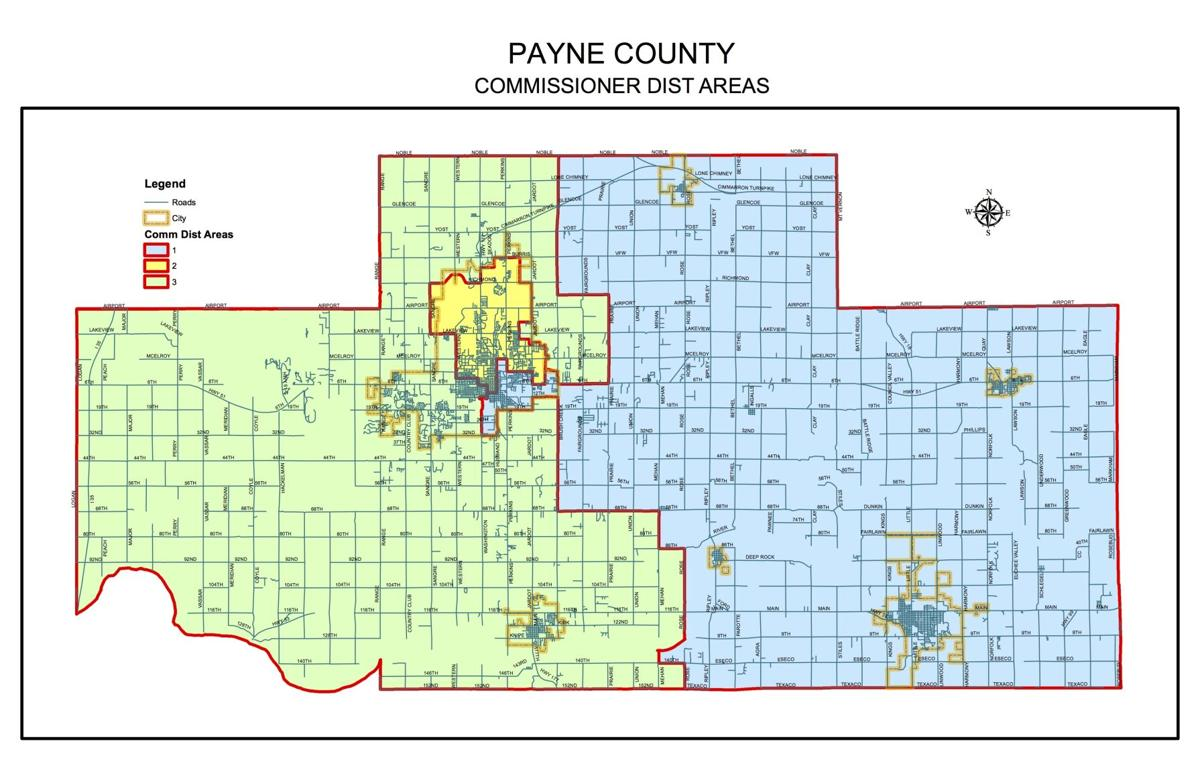 Old Payne County Commission District map - 2011