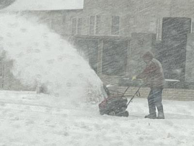 Snow blowing in blowing snow