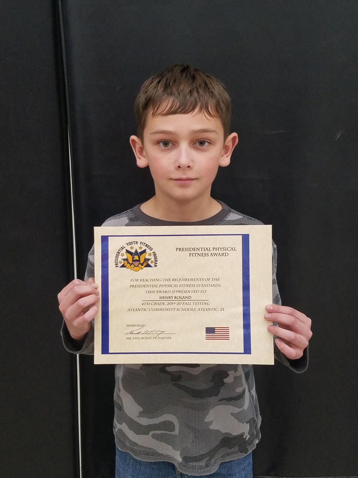 4th Grade Presidential Physical Fitness Award Winner: