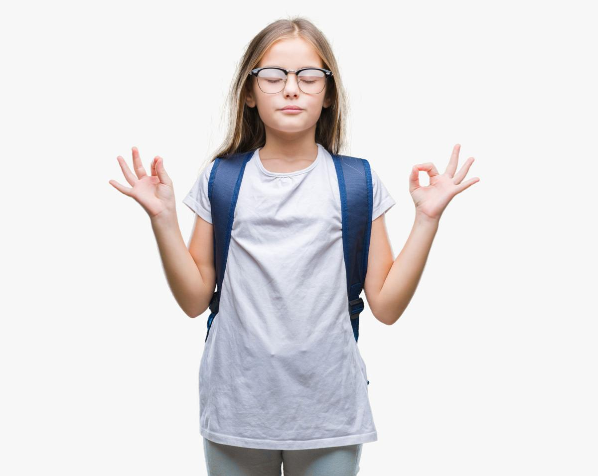 Young beautiful smart student girl wearing backpack over isolated background relax and smiling with eyes closed doing meditation gesture with fingers. Yoga concept.