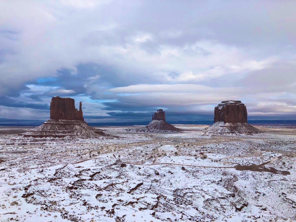Monument Valley under a dusting of snow