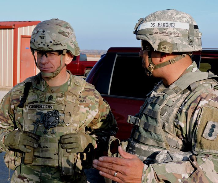 SMA Grinston briefed by Drill Sgt. Marquez