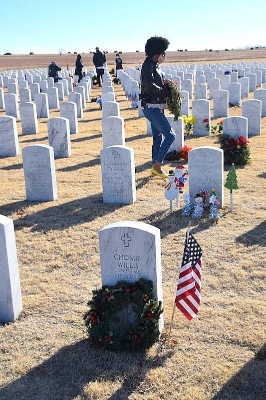 Wreaths across Fort Sill National Cemetery