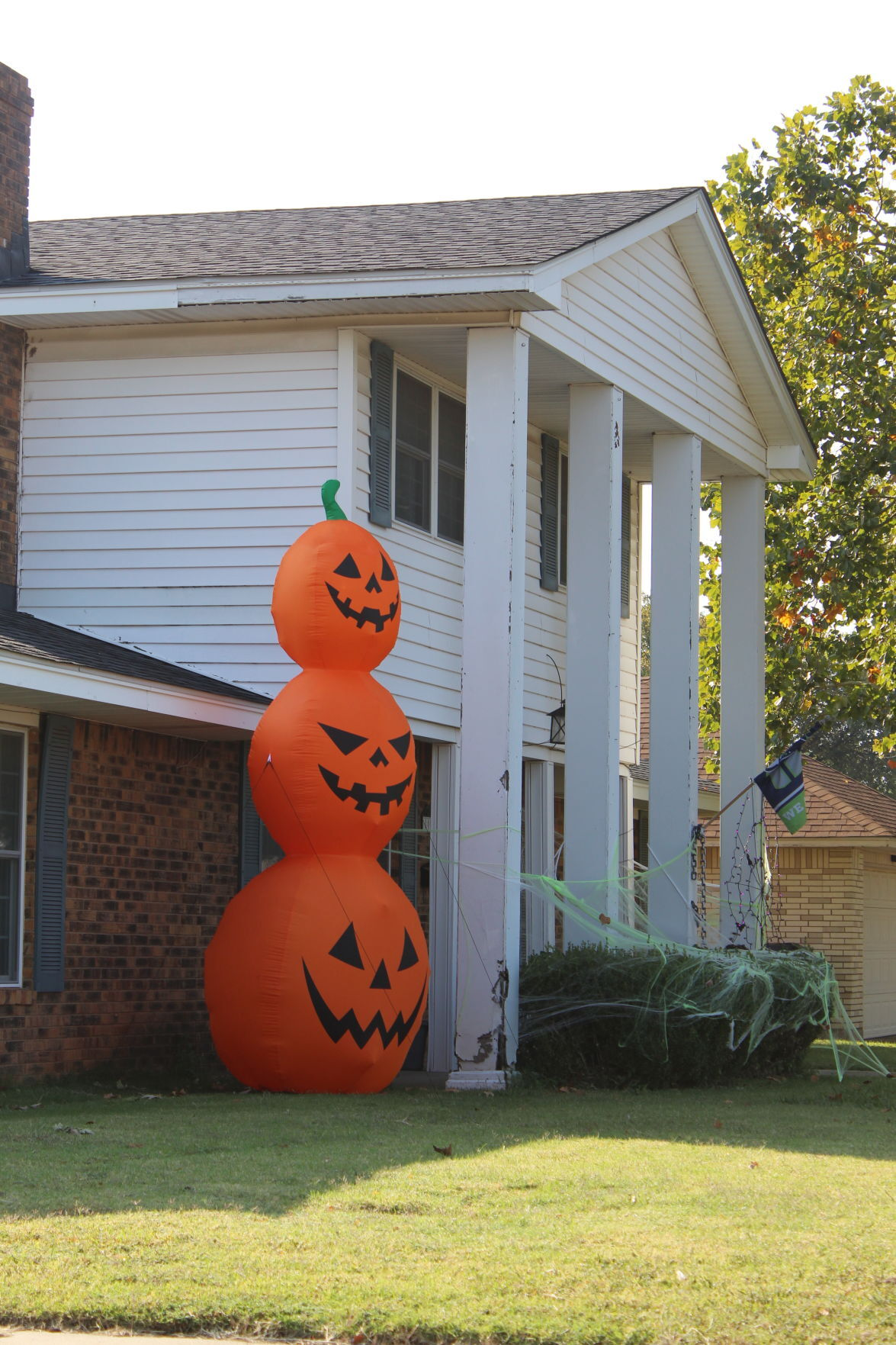 Pumpkins stand guard over house