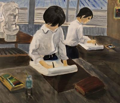 Japanese art leaving gallery