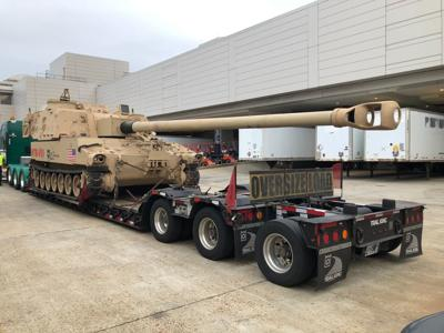The Extended-Range Cannon Artillery test vehicle arrives in D.C.
