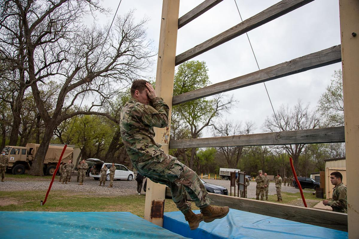Cameron cadets join Fort Sill trainees on obstacle course