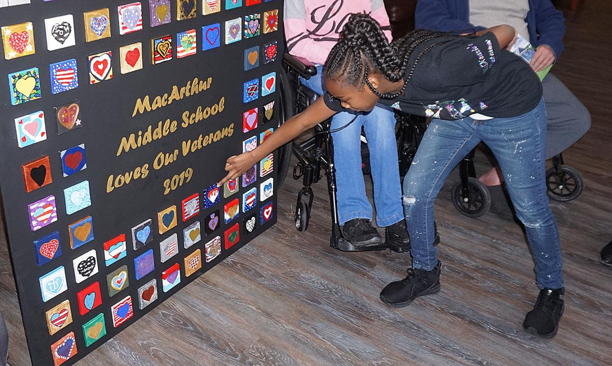 MacArthur Middle School Art Club presents project to Lawton Fort Sill Veterans Center