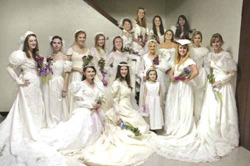 Daughters don their mothers' wedding dresses