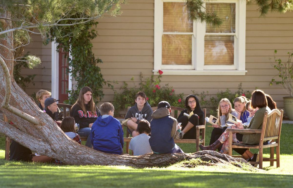 Dunn Middle School students study outdoors