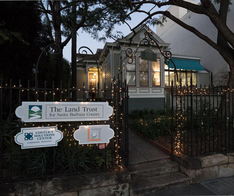 Land Trust office lit at night