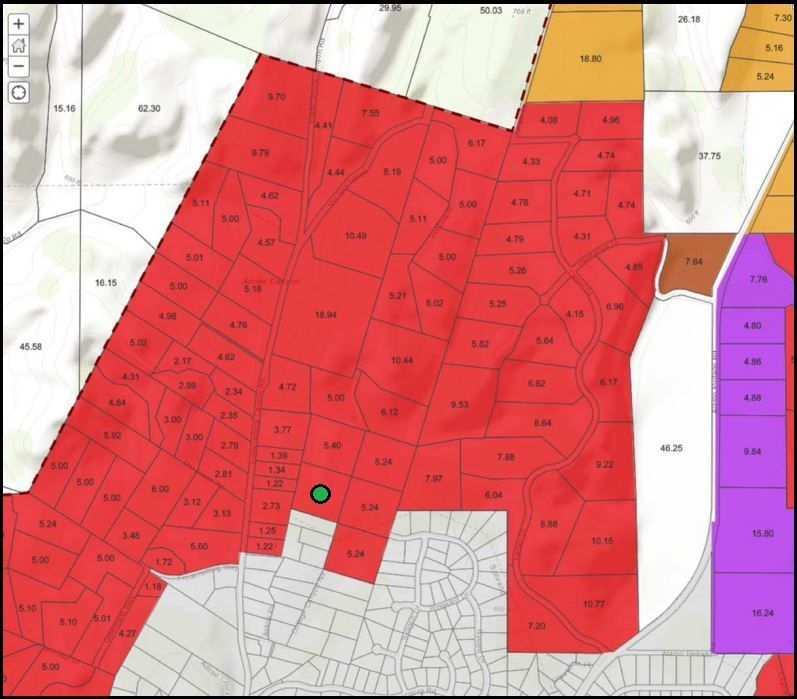 Map of ag-zoned land around Decker's proposed greenhouse site