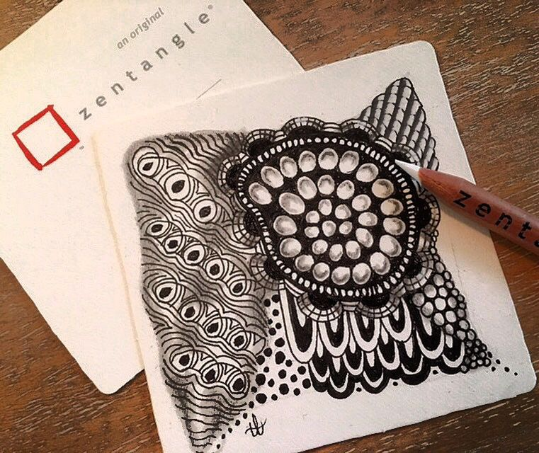 Zentangle mandala midway through creating