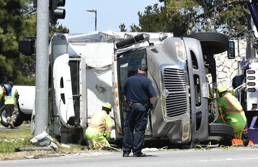 Overturned Foodbank truck at VAFB