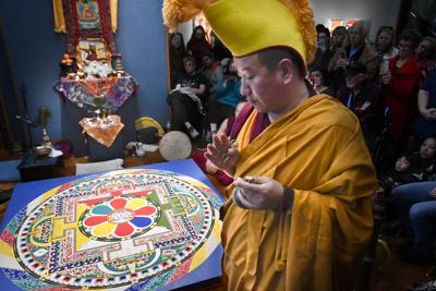 'Everything is impermanent': Tibetan monks finish, then destroy, intricate mandala at Hancock College