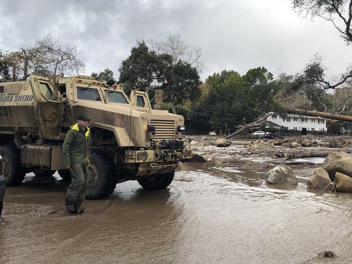 Homes damaged near Hot Springs Road in Montecito