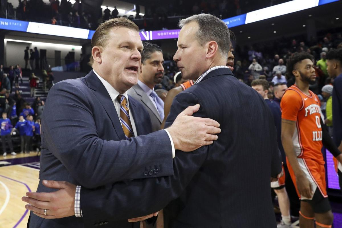 Illinois coach Brad Underwood talks with Northwestern coach Chris Collins after the Fighting Illini's 74-66 win in Welsh-Ryan Arena at Northwestern University on Thursday Feb. 27, 2020 Evanston, Ill.