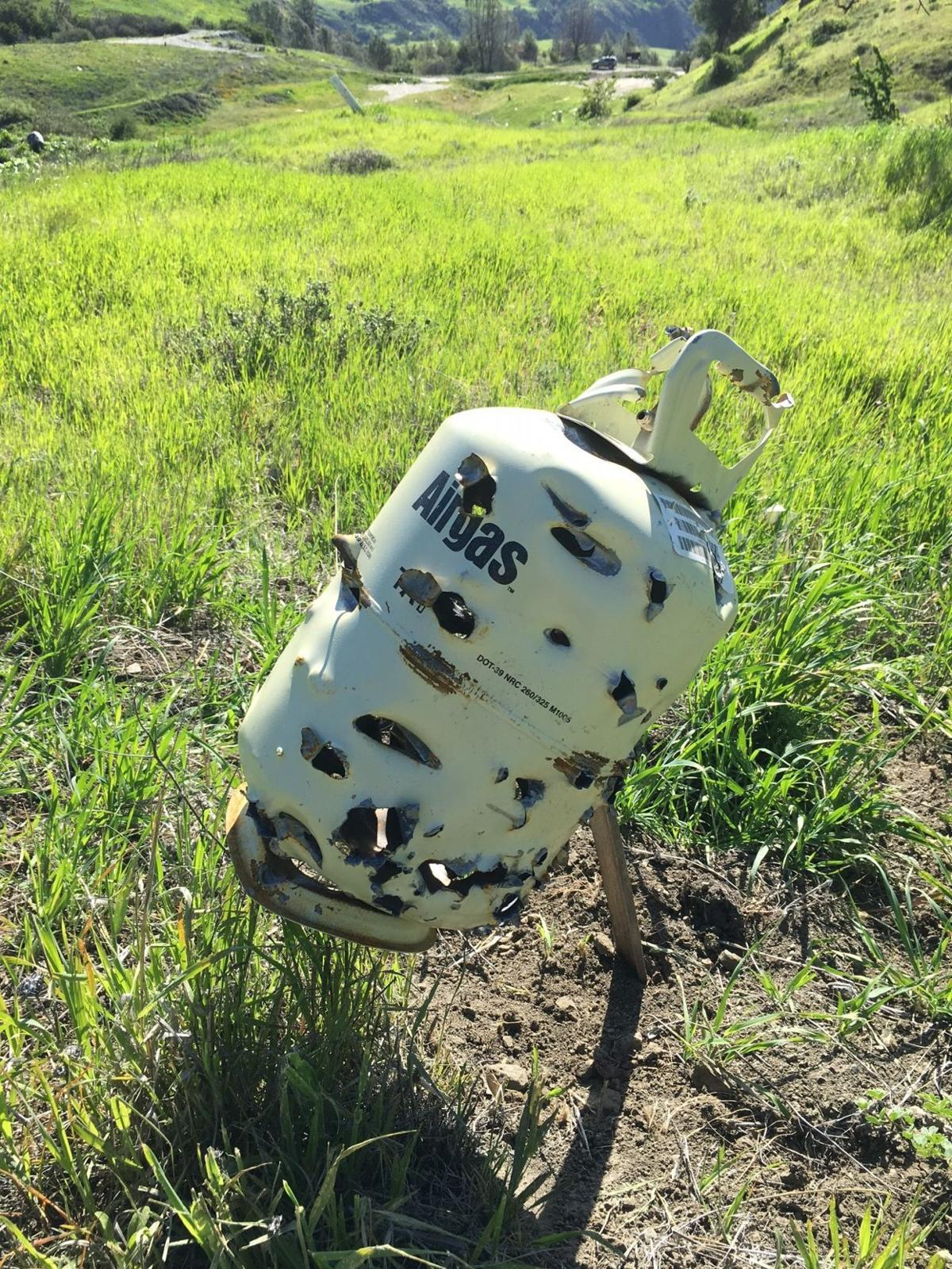 Propane tank riddled with bullet holes in Los Padres National Forest