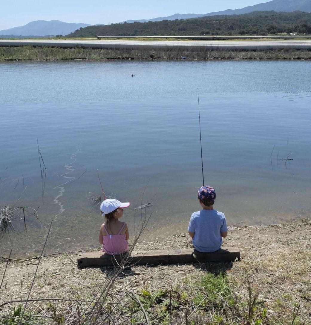 Kids fishing at Cachuma Lake