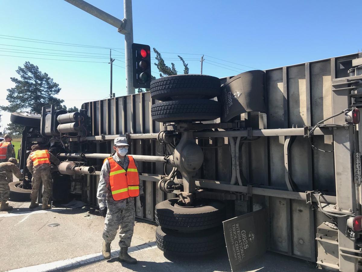 Overturned Foodbank truck