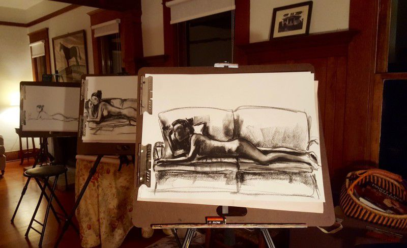 Image of sketches done during a figure drawing workshop