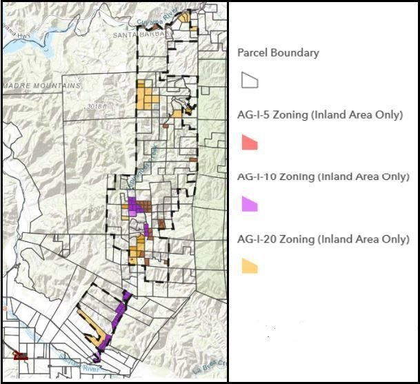 Tepusquet Canyon existing developed rural neighborhood AG-1 zones