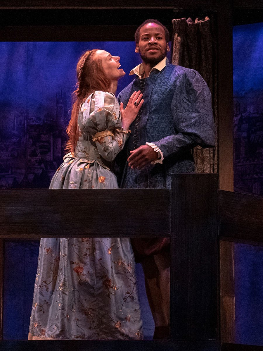 Emily Trask as Viola de Lesseps and Yusef Seevers as Will Shakespeare in a scene from 'Shakespeare in Love'