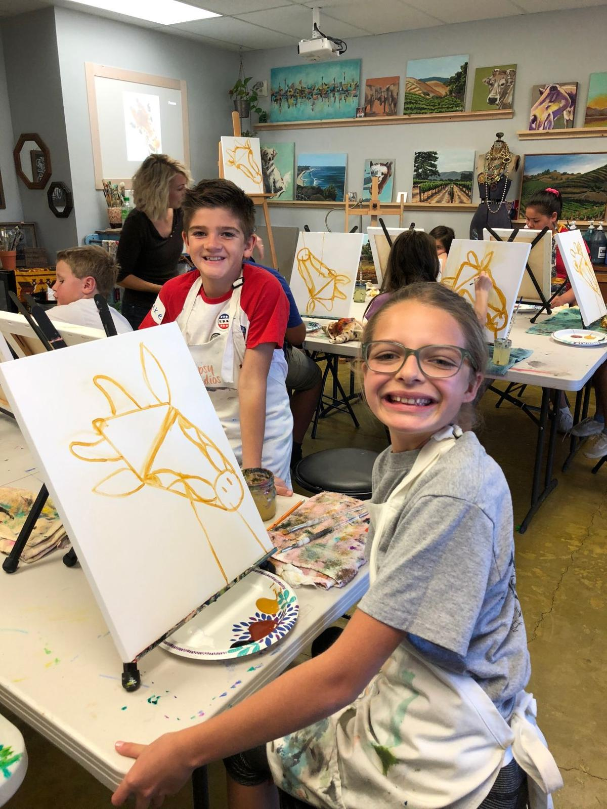Children painting during Gypsy Studios Art Kids Camp