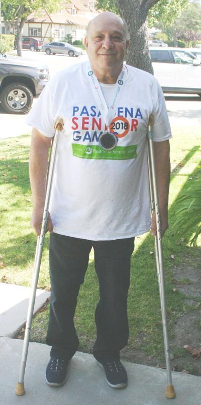 Joe Lisoni on crutches