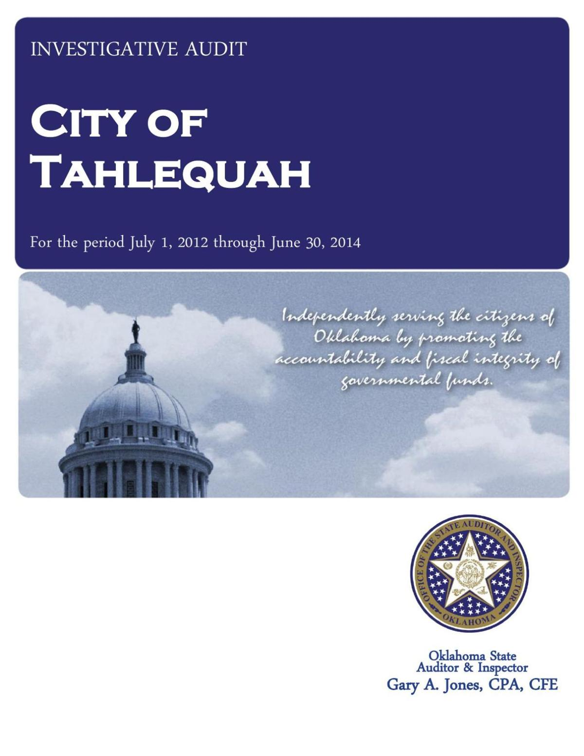 State Auditor & Inspector report on city of Tahlequah
