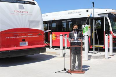 Cherokee Nation unveils first rural electric transit buses, first electric school bus in region
