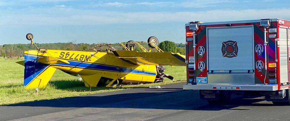 Crop duster crashes at airport; pilot hurt