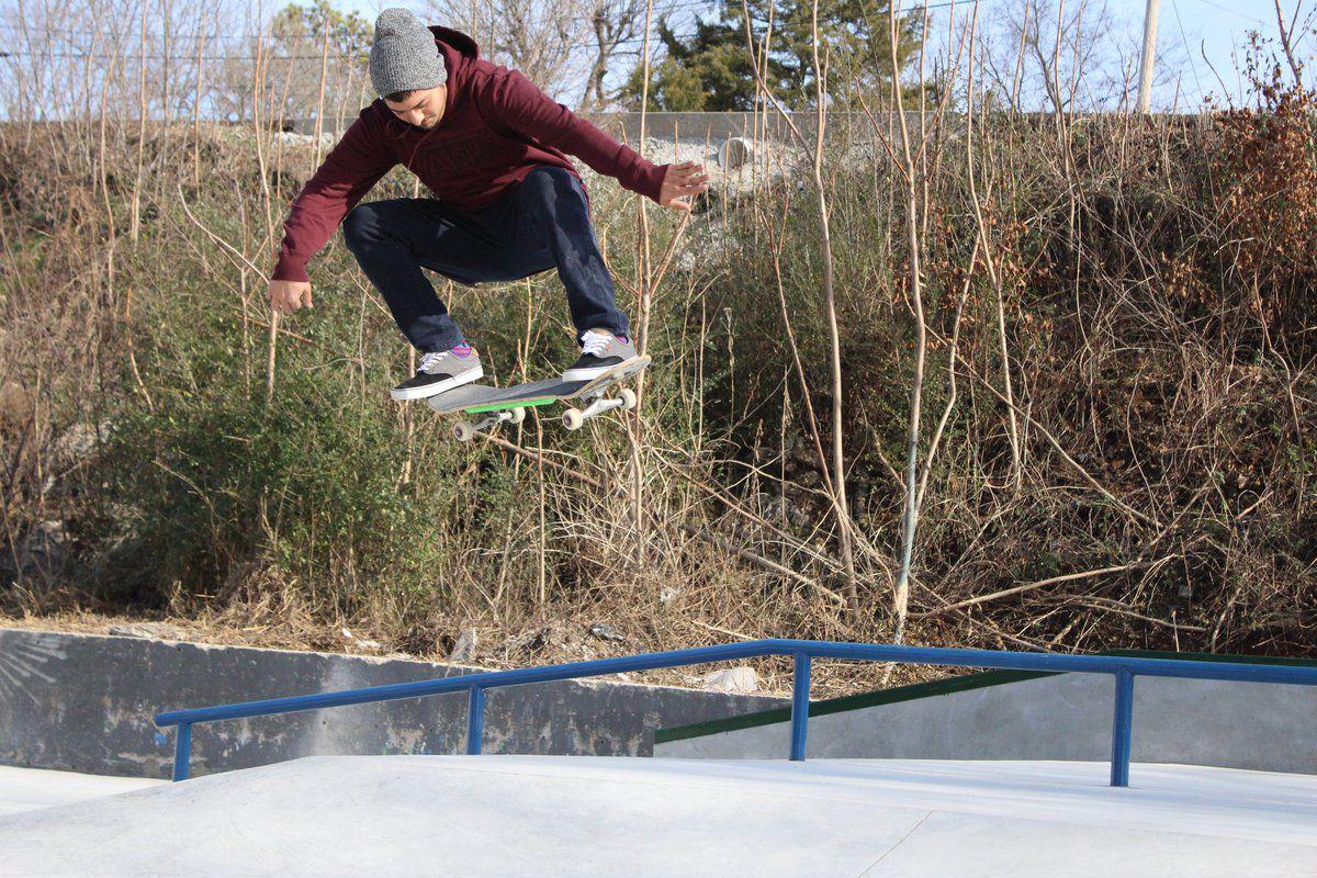 d2541977ee David Camden flies through the air at the Tahlequah Skate Park