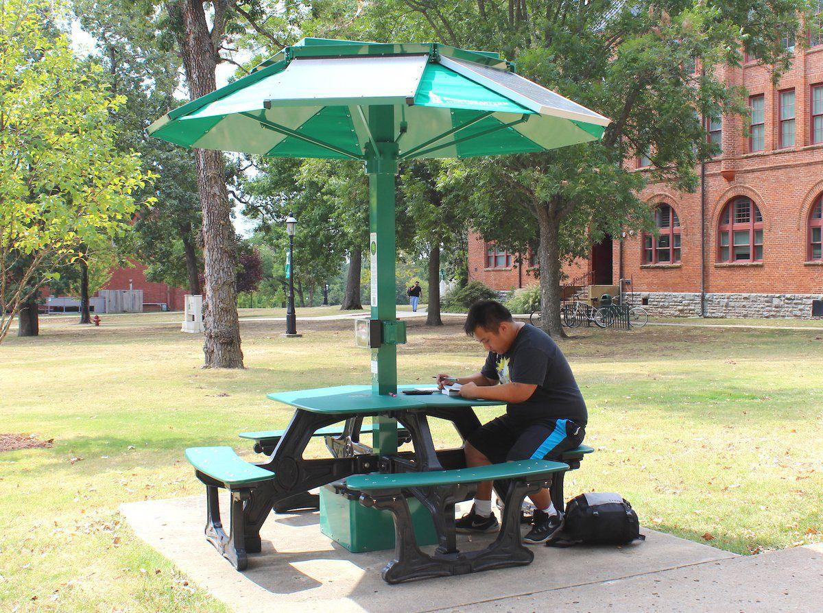 Hightech Solar Panels Let NSU Students Recharge News - Solar picnic table