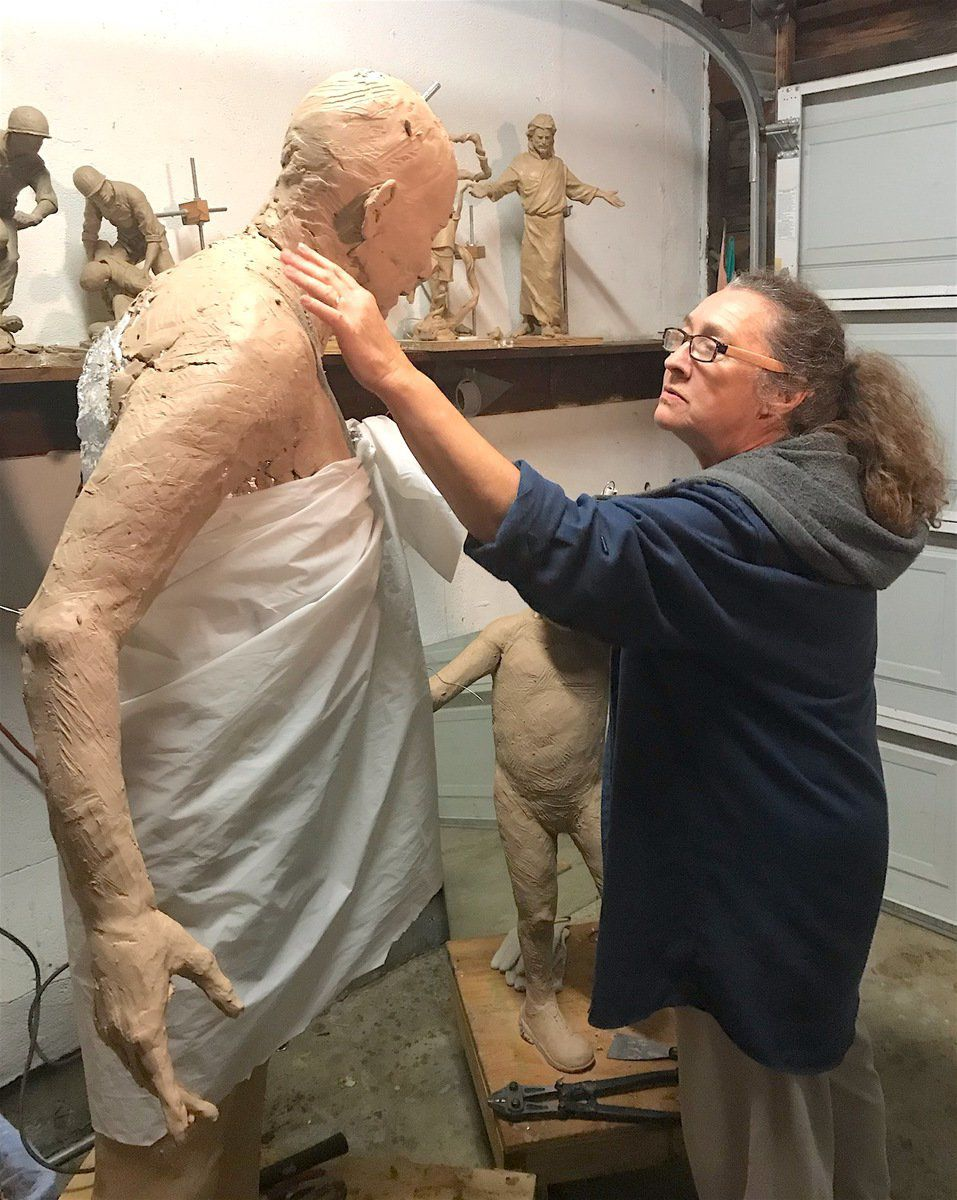 Sculptor's 'muses' helping bring statue to life