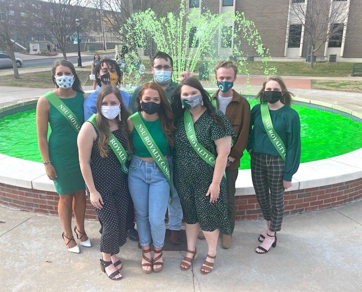 PAINT IT GREEN: In lieu of last fall's Homecoming festivities, NSU gives fountain the traditional dye job