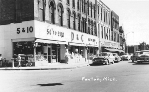 """One of the most memorable businesses in Fenton was the D&C, commonly called the """"dime store,"""" located at the southeast corner of LeRoy and Caroline streets."""