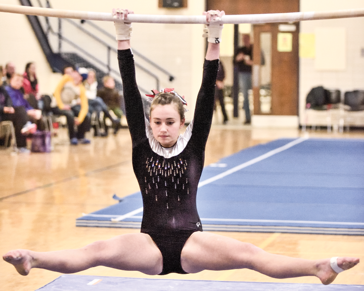 Macy Mitchell competes in a recent meet. The LFLF gymnastics team is preparing for regionals.