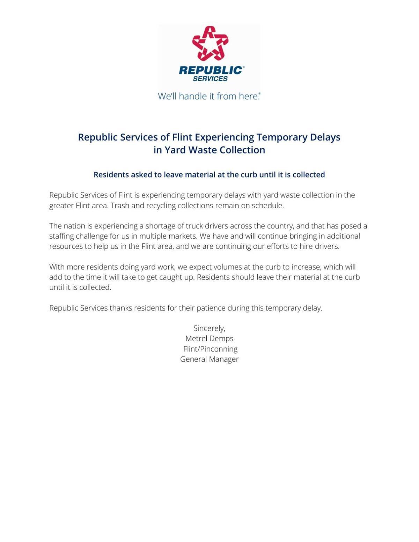 Fenton Republic Services Communication Notice