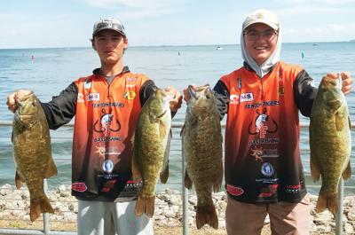 Henri Strum (left) and Mitchell Straffon teamed up to win the BASS High School State Championship. The duo will compete in a national competition next summer.
